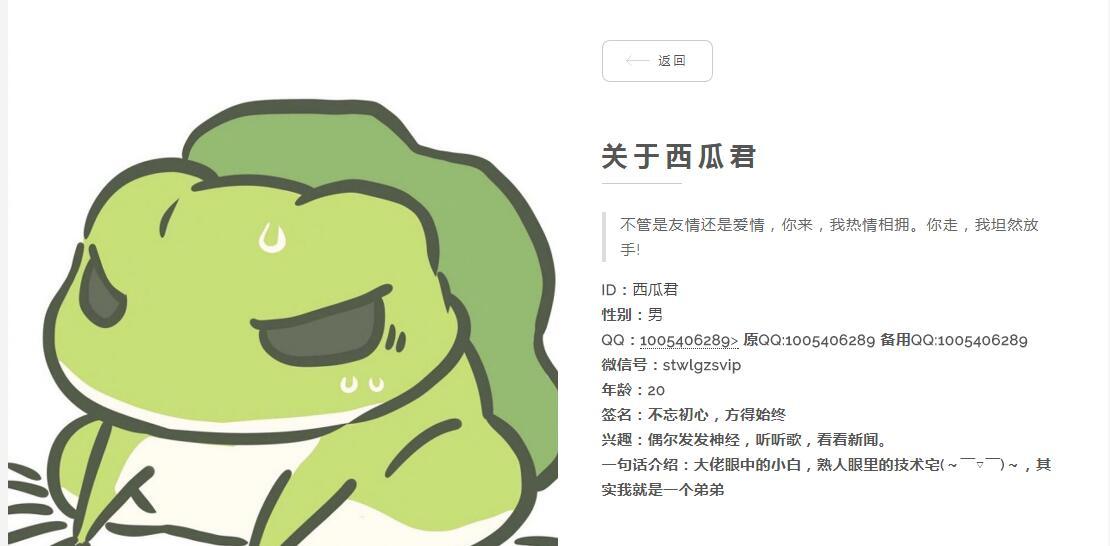 个人主页简约响应式HTML源码